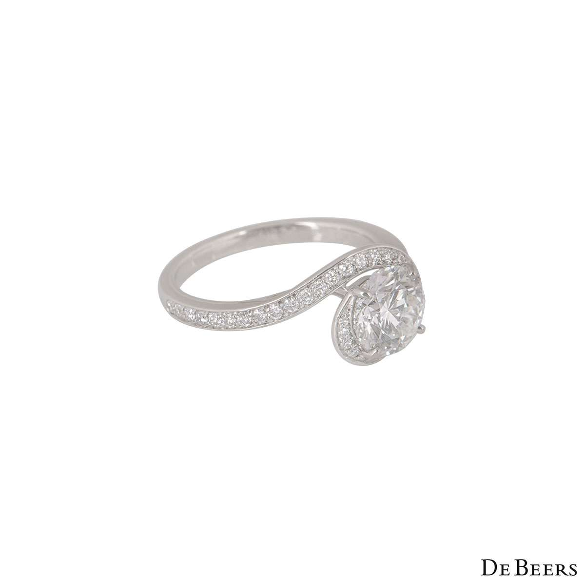 De Beers Platinum Diamond Caress Ring 1.24ct H/SI1